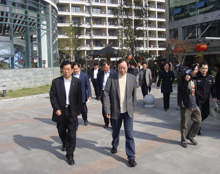 2008年,省委常委、公安厅长王辉忠视察良一村